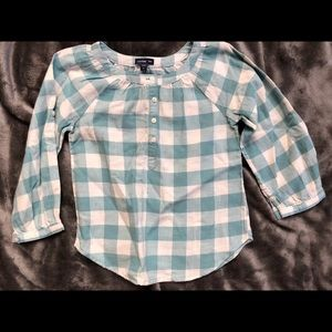 GAP Girls Blue and White Gingham Blouse 3T